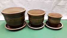 Stylish Quality Ceramic Outdoor Plant Pots & Dishes - Set of 3 Frost Proof Brown