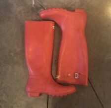 Hunter Womens Original Tall Rubber Rain Boots Military Red Shoe Size 6
