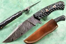 Hunting Knife with MakkataWood Handle and Unbelievable Damascus Full Blade 599EA