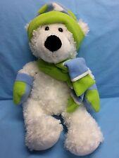"Hugfun Plush White Teddy Bear Winter Green Blue Scarf And Hat Stuffed Animal 17"""