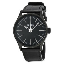 Nixon Sentry 38 Black Dial Black Leather Mens Watch A3771886