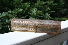 Vintage wooden trinket box with inlaid floral design. Amazingly  detailed