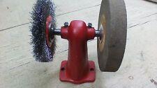 "VTG Bench Grinder Buffer Arbor Cast Iron vintage 6"" fine stone 5"" brush"