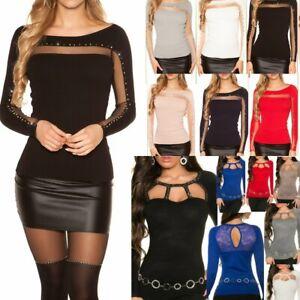 SeXy Miss Damen Pullover Pulli Glitzer Strass Dekollete Netz XS/S  34/36/38 TOP
