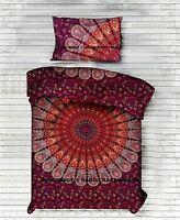 Peacock Mandala Printed Blanket Indian Cotton Reversible Twin Duvet Cover Set