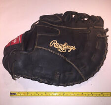 """New listing GENUINE RAWLINGS BASEBALL GLOVE PREOWNED RFBRB 12 1/2"""" LHT BLACK LEATHER"""