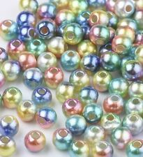 Round plastic beads mixed colour mermaid shimmer acrylic pretty