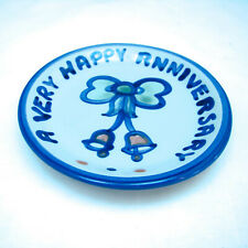 """M. A. Hadley COUNTRY SCENE BLUE """"A Very Happy Anniversary"""" Coaster EXCELLENT"""