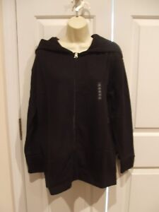 NWT city streets BLACK SOFT COTTON BLEND ZIP FRONT  hoodie JACKET TOP SIze SMALL