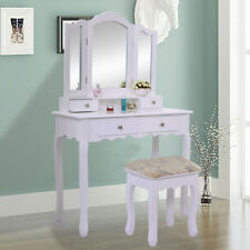 White Tri-Folding Mirror Vanity Set 4 Drawers Dressing Table Makeup Desk & Stool