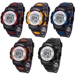 Kids Children boys girls multifunctional digital sports silicone ban wrist watch