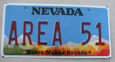 "NEVADA VANITY LICENSE PLATE "" AREA 51 ""  SECRET TEST SITE MERCURY ALIENS ALIEN"
