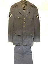 VIETNAM ERA US AIR FORCE DRESS BLUE UNIFORM 36L COAT 28R PANTS USAF WOOL TROP