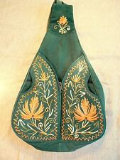Nepal - handmade suede backpack embroidered lined / mochila ante / zaino pelle