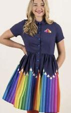 Bnwt Sz16 Harkel Pencil print Navy 40s 60s vintage style Shirt Dress kitsch £55