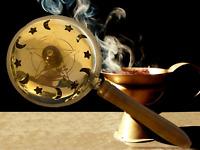Brass Pentagram Incense Butler with Wooden Handle