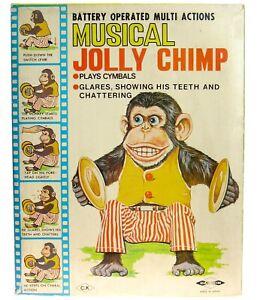 Vintage Daishin Musical Jolly Chimp Toy Story Creepy Clapping Monkey w/Box Works