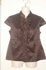 STUDIO Y ~ Brown Satin Ruffle Lined Blouse / Jacket Sz S * VERY GOOD COND.