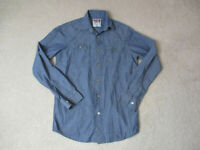 Wrangler Pearl Snap Shirt Adult Small Blue Brown Long Sleeve Western Cowboy Mens