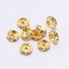 50pcs Gold Rhinestone Rondelles Crystal Loose Spacer Beads DIY Jewelry Making