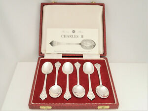 SIX VTG CASED CHARLES II REPRO TRIFID LACE BACK RAT TAIL SILVER SPOONS HM 1973