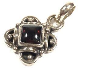 Vintage Ladies Sterling Silver Garnet Necklace Pendant