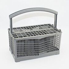 Dishwasher Silverware Cutlery Basket with Handle & Lid Lightweight Grey 9.5 Inch
