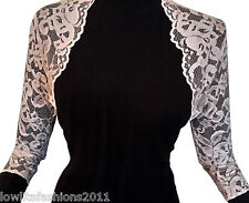 Ladies stretch Lace 3/4 sleeve Bolero Shrug Jacket Sizes 10-20 by Lowlita Design