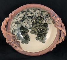 Ellen Evans 2004 Ceramic Pottery Grape Leaf Bowl with Handles Terrafirma NYC
