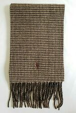 VTG Polo Ralph Lauren Mens Brown Plaids Italy Lambswool Blend Reversible Scarf