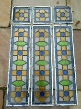 More details for antique stained glass window panels x 6 no