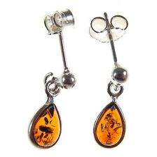 BALTIC AMBER STERLING SILVER 925 STUD DROP DANGLING TEARDROP EARRINGS JEWELLERY