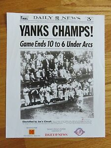 Daily News 1949 NEW YORK YANKEES WORLD CHAMPIONS PHOTO Joe Dimaggio Yogi Berra