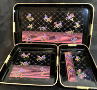 Lacquer 3 Piece Serving Tray Set Floral Quilted Vintage Japan MCM Black Gold