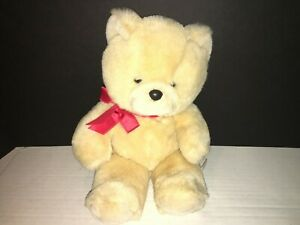 "VINTAGE EDEN LIGHT TAN BLONDE TEDDY BEAR BROOKS RED RIBBON BOW 13"" VERY SOFT"