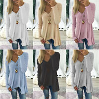 Women V Neck Long Sleeve Tunic Long Top Loose Casual Blouse T-Shirt Plus Size