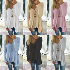 Damen V-Ausschnitt Langarme Pulli Bluse Tunika Tops Irregular T Shirt Pullover