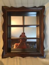 Vintage Curio Display Shadow Box Cabinet Mirrored Wall Wood Shelf