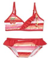 JUICY COUTURE BLACK LABEL Red Striped Ruffle Bikini Swim Suit Girls Sz 16 NWT!🍒
