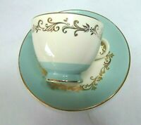 Lifetime China Gold Crown Coffee Cup with Saucer Gold Tone Trim Swirl Pattern