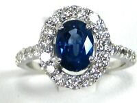 Rare Blue Sapphire Ring 18K white gold Halo GIA Insured Certified Heirloom $9,98