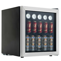 Refrigerator Mini Beer Beverage Fridge Glass Door Black & 62 Can Beverage Cooler