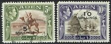 ADEN 1951 KGVI PICTORIAL 5S ON 5R AND 10S ON 10R USED