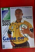 2003 WALLABIES RUGBY WORLD CUP PROGRAM  HAND SIGNED BY CAPTAIN GEORGE GREGAN