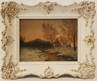 """Oil Painting on Board Landscape River House Unsigned Framed Art  (14"""" x 17"""")"""