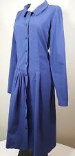 Lilith Blue Couture Dress Size XS~36 Asymmetrical Pleated Button Front