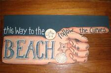 BEACH Vintage Canvas Sign Ocean Shells Tropical Paradise Nautical Home Decor