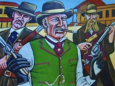 THE QUICK AND THE DEAD PAINTING gene hackman western movie colt army revolvers