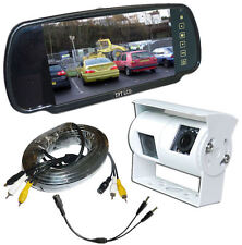 Twin Rear View Reversing Camera Kit with Mirror Monitor for Motorhomes (WHITE)