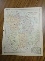 Nice color map of The Central States/Eastern.  Printed 1896 by American Book Co.